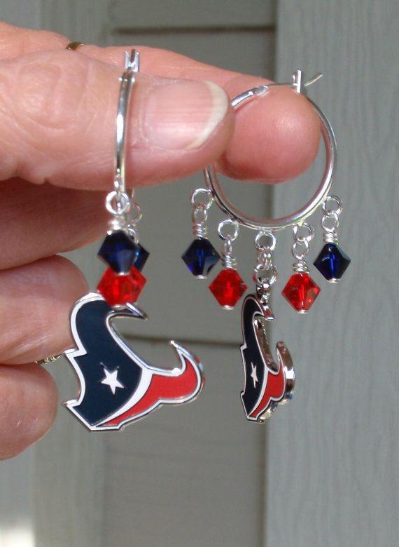 Houston Texans Earrings, NFL Texans, Red and Navy Crystal Hoop Earrings, NFL Football Earrings, Sports Bling, Football Accessories
