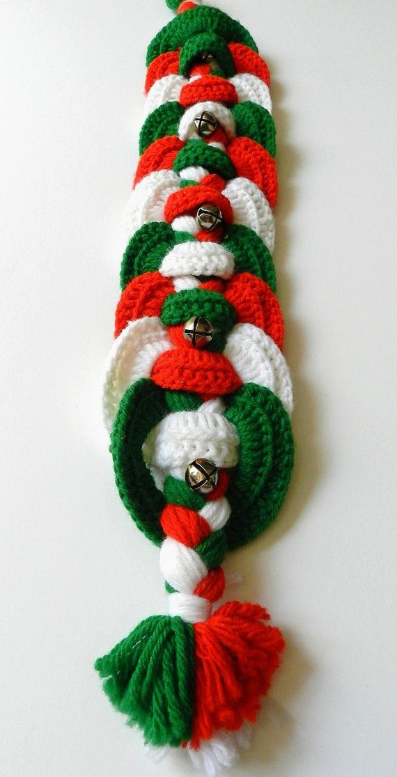 vintage crochet christmas braided wall hanging door by on wall hanger id=95065