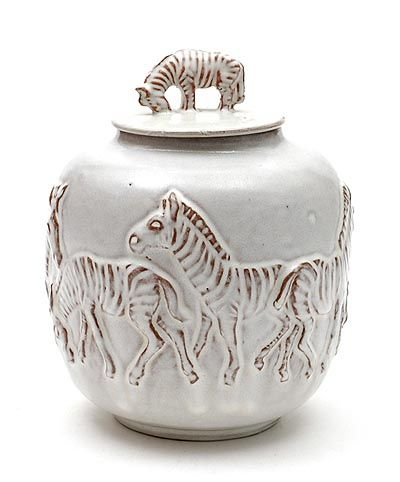 Grey glazed earthenware covered vase with relief decoration of Zebras design Bouke-II / Klaas-II 1950-'65 executed by Mobach Utrecht / the Netherlands