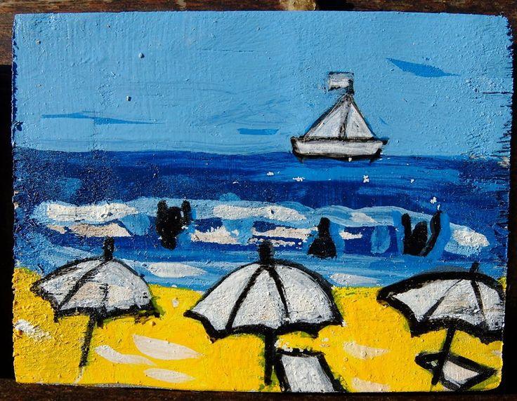 Pedro d'Oliveira.  Estudo de pintura de praia.   Acrílico s/ madeira.   Aveiro, Portugal, agosto, 2015.