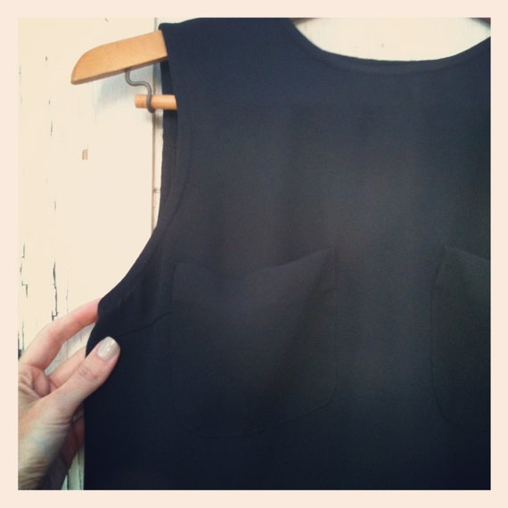Vintage 90s Black Tunic Drape Sleeveless Rayon Blouse by by OKBOMB, $10.00