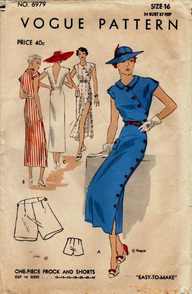 1930s playsuit button up dress column sheath long blue black hat shoes white summer day