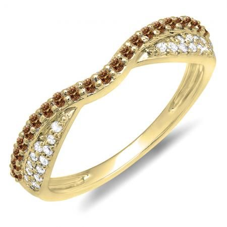 Thanks for Sharing!  0.36 Carat (ctw) 14k Yellow Gold Round Champagne & White Diamond Ladies Anniversary Wedding Band Stackable Ring 1/3 CT - Dazzling Rock #https://www.pinterest.com/dazzlingrock/