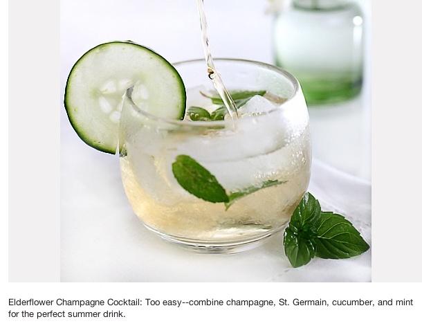 Elderflower Champagne Cocktail: Champagne, St. Germain, cucumber and mint.  Refreshing summer drink!