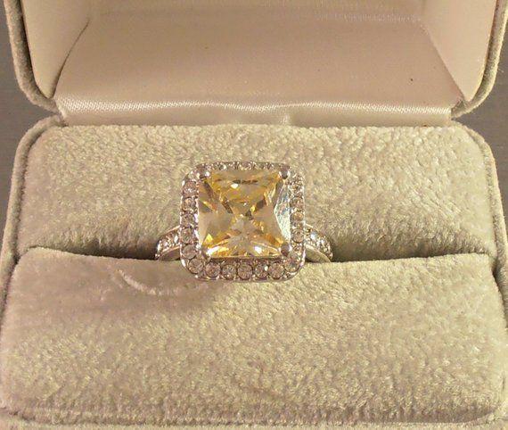 Citrine Halo Ring, Cubic Zirconia, Rhodium Finish, Size 8, Boutique Ring