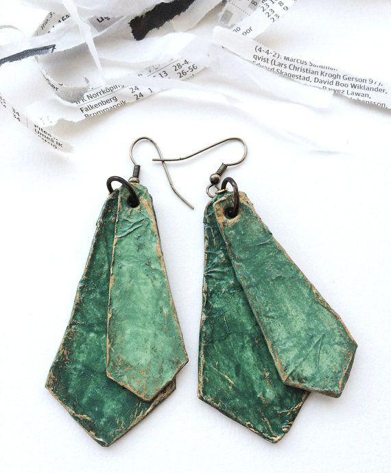 Dangle Papier Maché Earrings Handmade Recycled by StudioCeladon