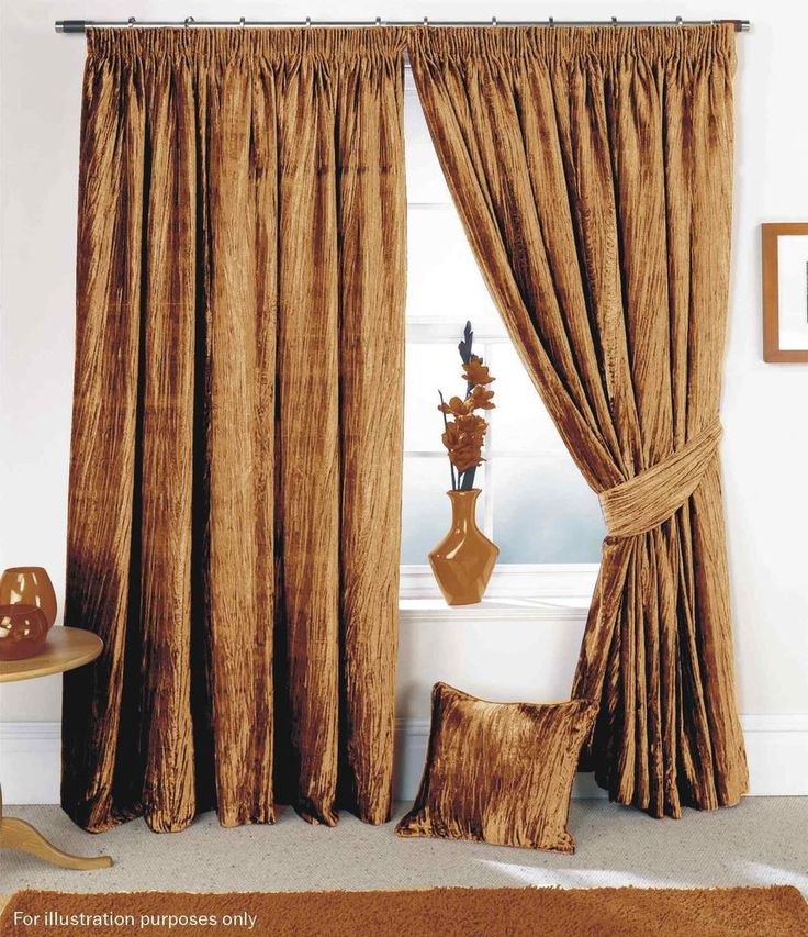 Gold Crushed Velvet Feel Curtains Soft Touch Tape Top Pencil Pleat Lined Set