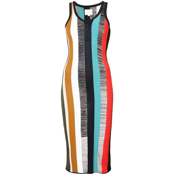 Cinq A Sept striped midi bodycon dress ($207) ❤ liked on Polyvore featuring dresses, multicolour, striped midi dress, body con dress, midi dress, bodycon midi dress and multi colored dress