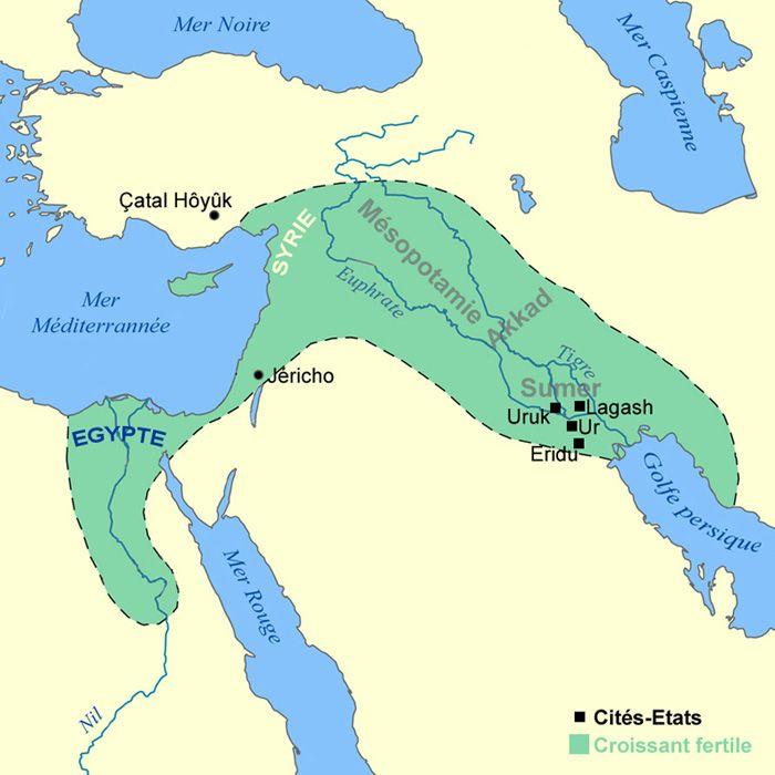 Carte du croissant fertile au Moyen-Orient au début de l'antiquité en Mésopotamie (Antiquité - Moyen-Orient - v.10000 à 2000 av. J.-C. : 1ères civilisations en Mésopotamie)