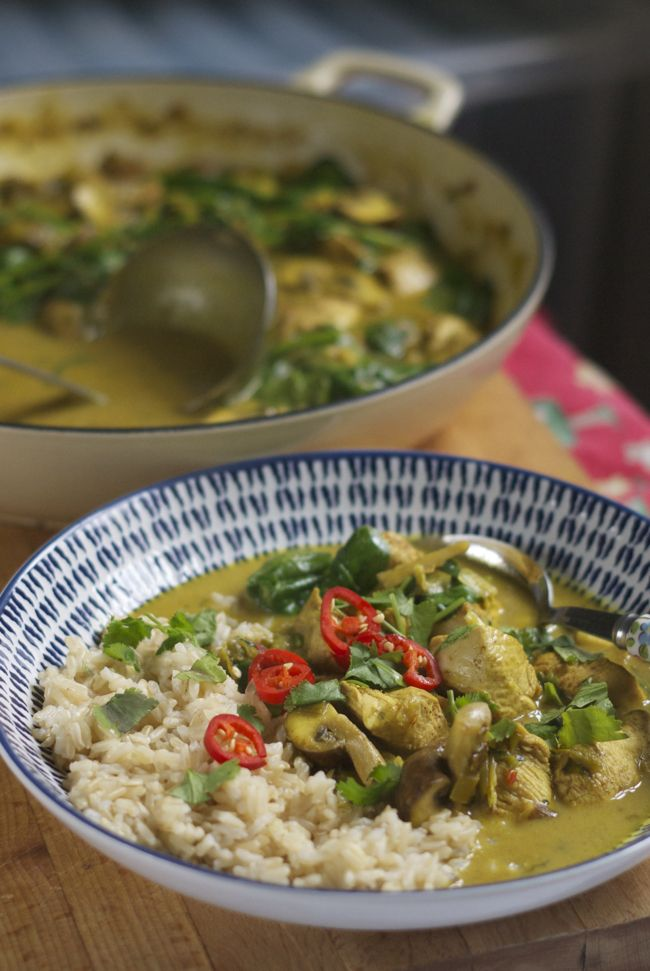 Kid friendly chicken curry with mushrooms and spinach