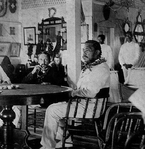 Robert Lewis Stevenson and King Kalākaua of Hawai'i, born David La'amea Kamanakapu'u Mahinulani Nalaiaehuokalani Lumialani Kalākaua.