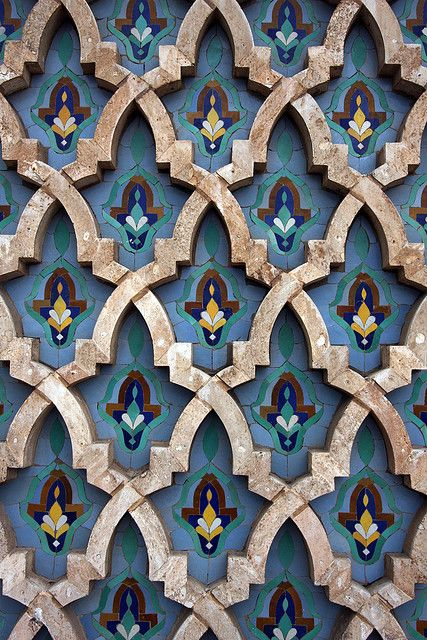 Tiles In The Stone by MykReeve on Flickr: A detail of a tiled wall outside the Hassan II Mosque beside the coast in Casablanca.