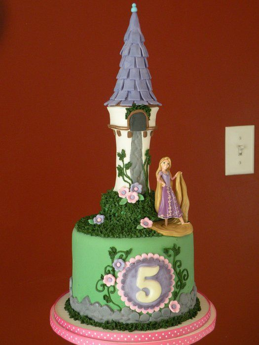 """""""Tangled"""" themed cake and cupcakes for a birthday cupcake tower. Figures supplied by the customer."""
