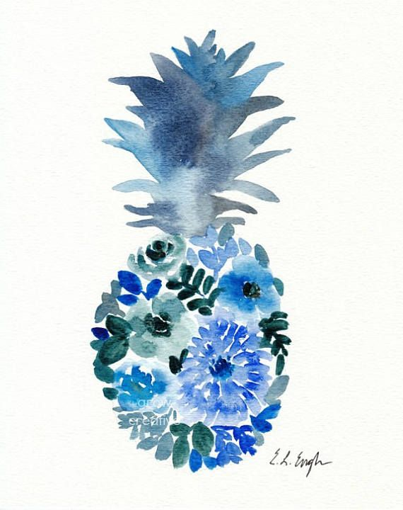 BLUE WATERCOLOR FLOWER PINEAPPLE original watercolor painting  -This watercolor fruit is not your typical pineapple! It has blue flowers and leaves incorporated into a cool, inky blue, original design.  Materials: high quality watercolor paints on 140lb cold press watercolor paper. Size: 8x10 inches  Details: - signed in ink on the front by the artist. No frame included. No watermark appears on actual painting -Artist retains all copyrights to this artwork. Please do not reproduce.  See more…