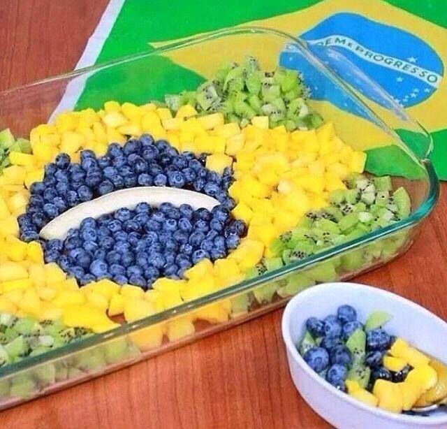 #Brazil flag fruit salad! very creative