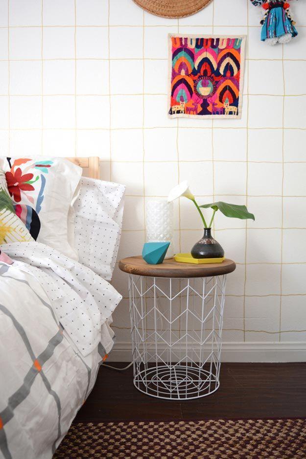 Cheap DIY Ideas for Teenage Boys Bedroom | DIY Wire Basket Side Table by DIY Ready at http://diyready.com/easy-diy-teen-room-decor-ideas-for-boys/
