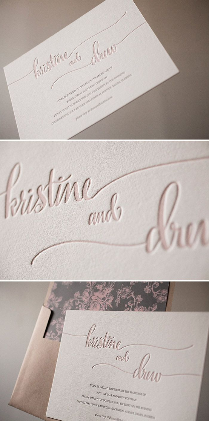 Romantic Colette letterpress wedding invitations printed in dusty pink ink