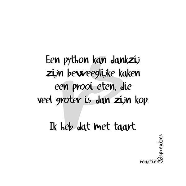 Taart! (© Heidi, Reactie Spreukjes) #ikkandat #ikhebdat #ikdoedat #humor #tekst #Nederlands #python