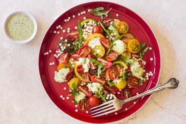 Tomatoes with Israeli couscous and rocket aioli