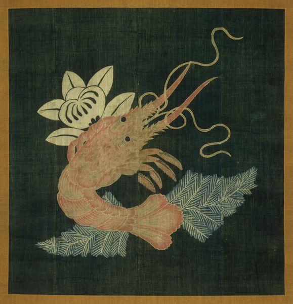 海老橘文様油単〈えびたちばなもんようゆたん〉木綿、筒描 軸装 江戸~明治時代〔日本〕 19世紀 113.7 x 110.0 cm  No.22878