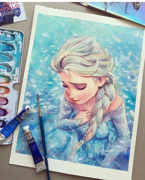 art, artwork, beautiful, disney, drawing, frozen, paint, talent, queen elsa