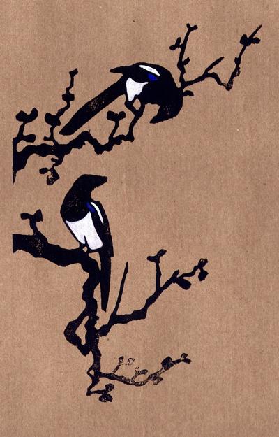 """""""Magpies :: Becca Thorne Illustration (via Society6)"""" Soooo preeeettyyyy. One I wish I had on my wall."""