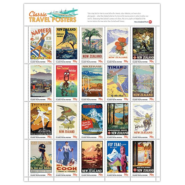 Classic Travel Posters | New Zealand Post Stamps  Up until the 1960s these iconic travel posters played a key role in enticing tourists to make the lengthy journey to visit Aotearoa, and encouraging 'Kiwis' to see more of their own countryside. Decorating railway stations and public buildings, these posters reflected New Zealand's unique landscape, and created a sense of national identity and pride that remains today.