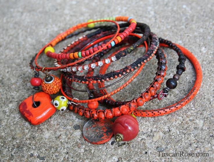 Bangle Stack set 22dg: Bangles N Beads, 10 Bangles, Neon Orange, Urban Gypsy, Gypsy Bracelets, Jewelry Bracelets Bangles, Bangles Urban
