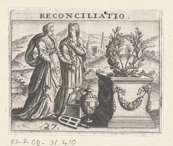 Theodor de Bry | Twee vrouwen bij een grafmonument, Theodor de Bry, Jean Jacques Boissard, 1596 | Twee vrouwen staan bij een grafmonument. Naast het graf staat een urn en een kist met een open deksel. Op de grafsteen staat een bloemenkrans van eikenlof.