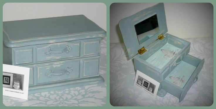 Duck egg blue jewellery box, one of a kind available exclusively at Copper and Ash.