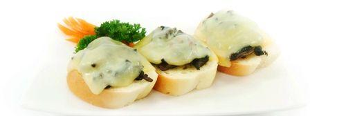 TOAST MONTE CRISTO. 3 slices of french bread, topped with mushroom & mozzarella.