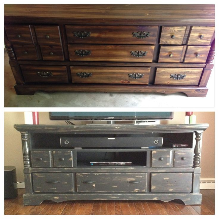 This was a dresser from a garage sale and I turned it into a tv stand- a distressed older look with some new hardware. Cheaper than buying new! Trash turned to treasure!