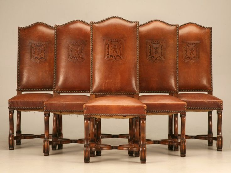 WOW I LOVE THESE!! I'm in love with this website!! Significant Set (6) Vintage French LXIII Embossed Leather Chairs for Sale | Old Plank