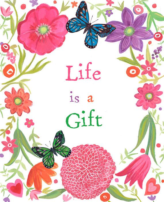 Life is a gift Inspiration motivational message Art by Faridazaman