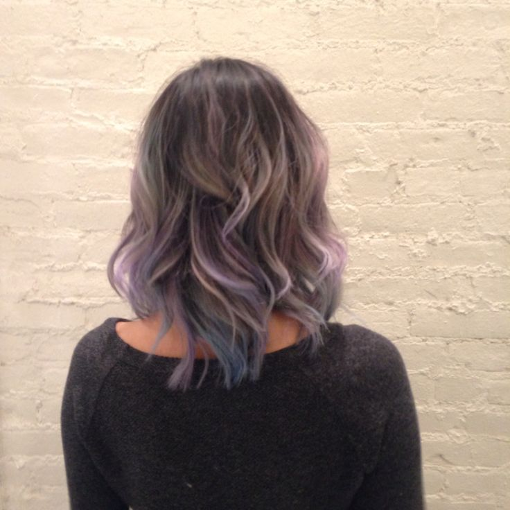 Bleached brunette hair with grey toner and Manic Panic pastel blue and purple into sky blue and lavender