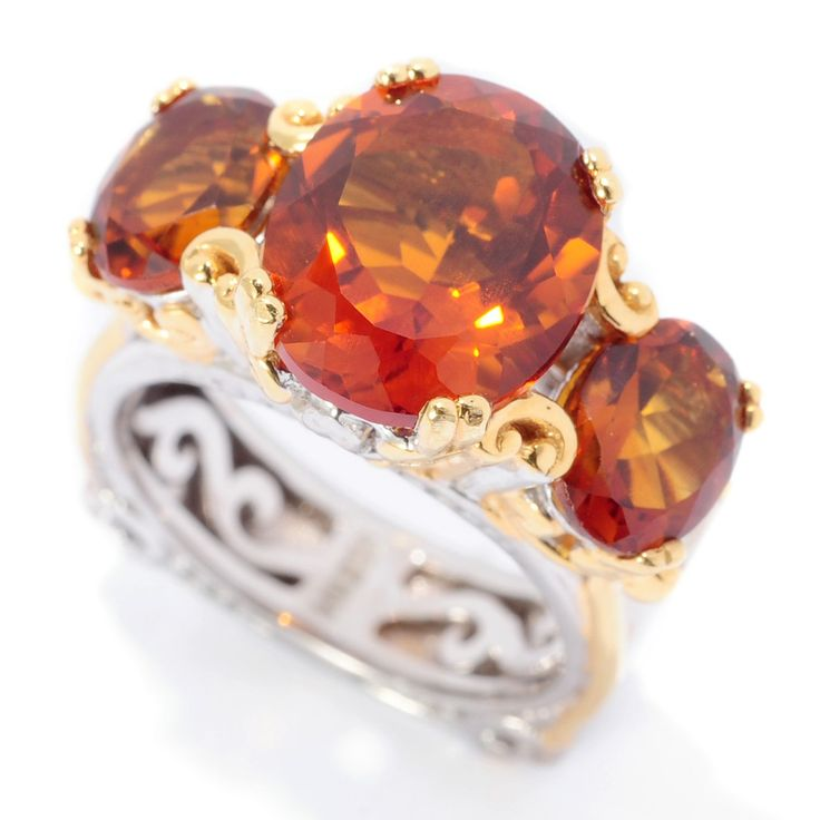 157-615 - Gems en Vogue 6.30ctw Madeira Citrine Three-Stone Euro Shank Ring