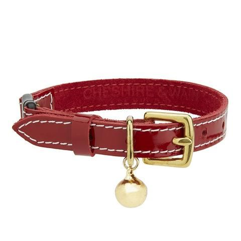 Chester Red Luxury Leather Cat Collar