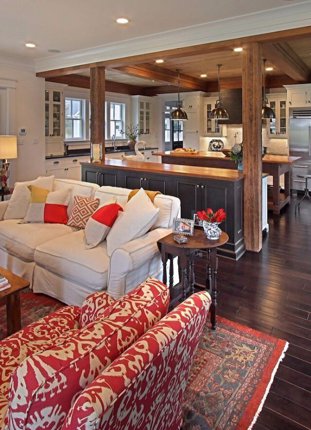Great Use Of Space Open Floor Plan Craftsman Living Rooms Living Room And Kitchen Design Farm House Living Room