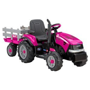 Peg Perego Case IH Magnum Tractor & Trailer Battery Powered Riding Toy - Pink Image 5