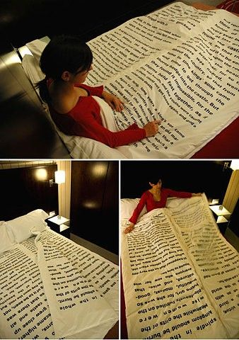 """Bedtime Storiesthis blanket, designed byTiago da Fonseca, has several sheets containing a traditional bedtime story. Each """"page"""" adds a layer of linen making you warmer (or cooler) and comfier hopefully guiding you and your partner into a pleasant night's sleep."""