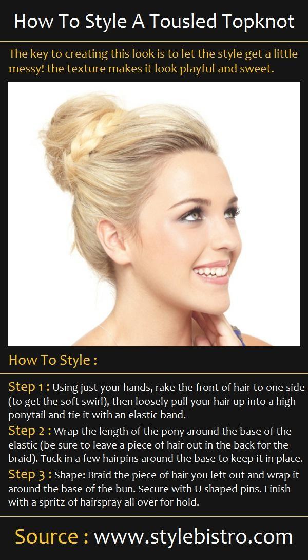 A Tousled Topknot Hair Tutorial