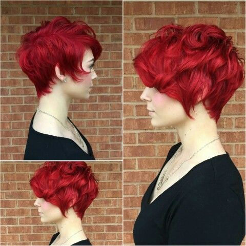 Bright red pixie. All angles