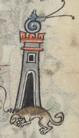 Snail castle with guard dog @BLMedieval Add MS 36684, f 146r