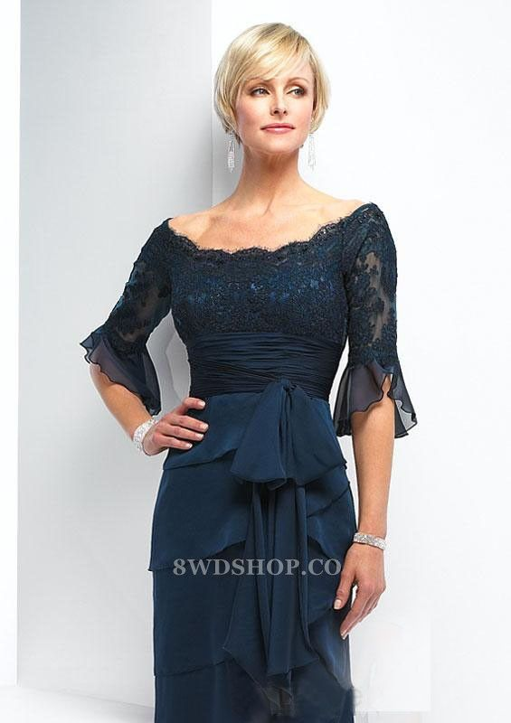 Dark Navy Off The Shoulder Band Chiffon Satin 1/2 Sleeves Empire Lace Mother Of Bride Dress [212993] - $ 159.99 :