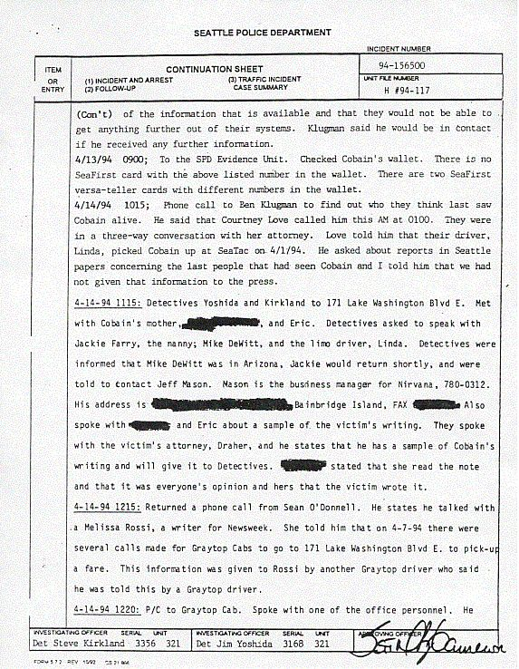 a report about the death of kurt cobain Received 04/08/2009 08:17 in 01:52 on line for  2/3 21:12 fax seatt'ltg police department incident report i e 94-156500 death investtcktt0n.