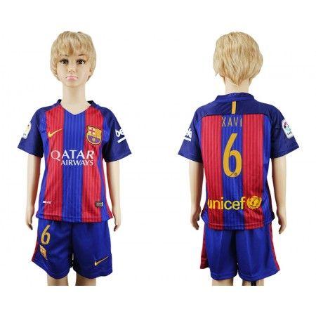 Barcelona Trøje Børn 16-17 #Xavi 6 Hjemmebanetrøje Kort ærmer.199,62KR.shirtshopservice@gmail.com