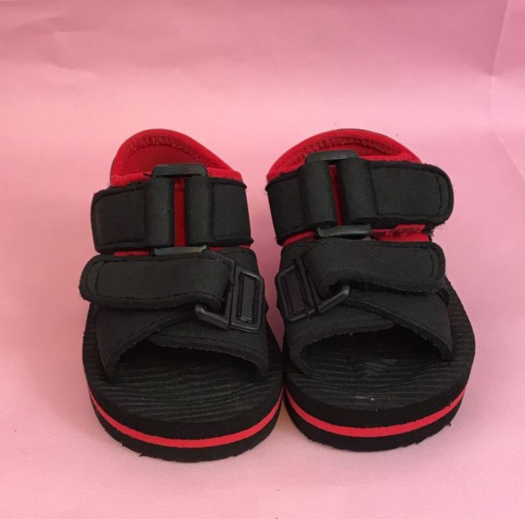 Boy's Black And Red Sandals Hook And Loop Fastener Size 0 Gift