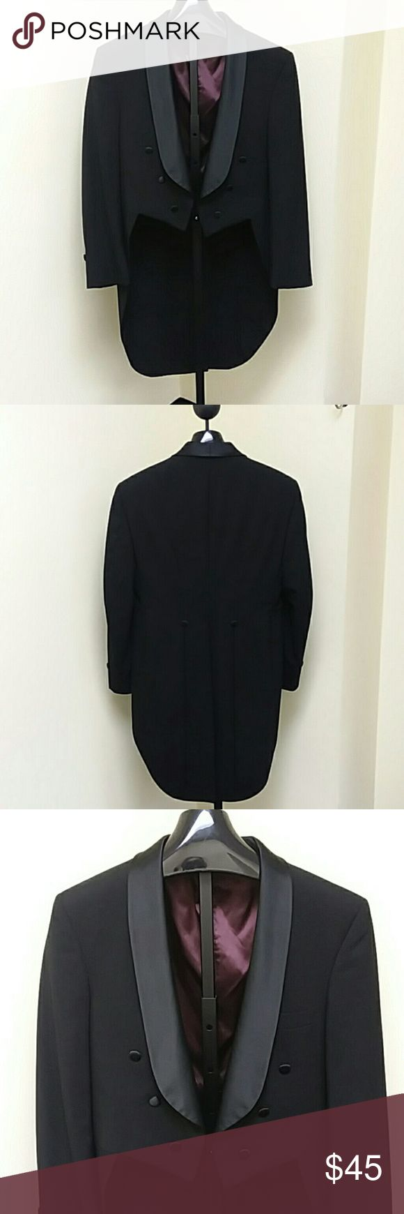AFTER SIX Shawl Style Tuxedo Jacket with Tails VTG shawl style, tuxedo jacket with tails, with burgundy lining. Covered buttons. 100% wool. From rental stock at a tuxedo store, has been dry cleaned and ready to wear. After Six Suits & Blazers Tuxedos
