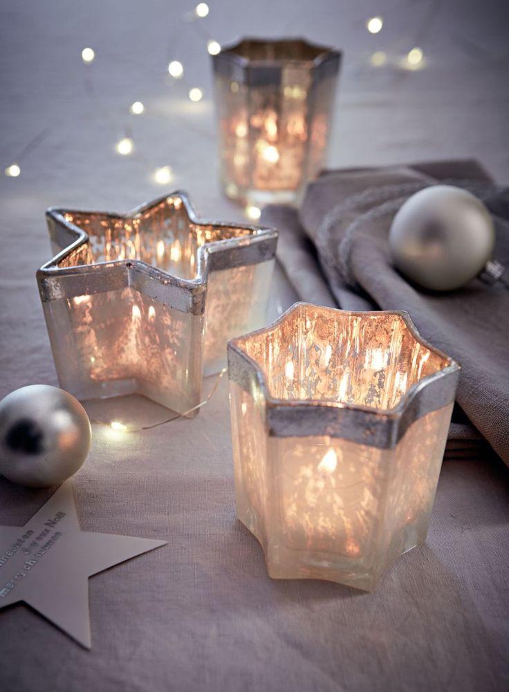 Teelichthalter- Set, 3-tlg., Dekorative Glasleuchter, Sternform.