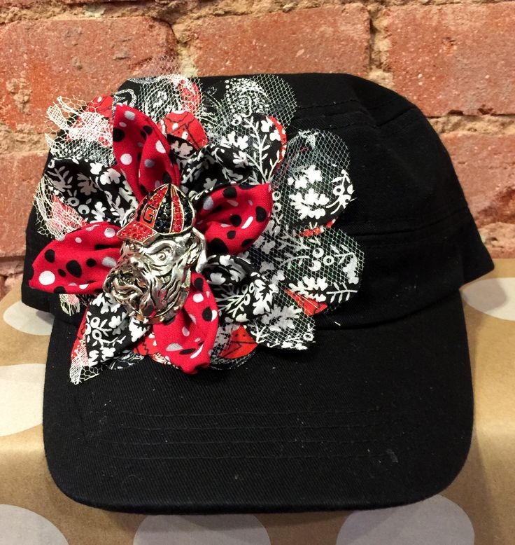 Hand-Decorated Cadet/Military hat with University of Georgia Bulldog's colors. The Pin is your gift with purchase.